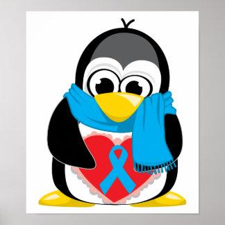 Bufanda del pingüino de Lt Blue Ribbon Poster