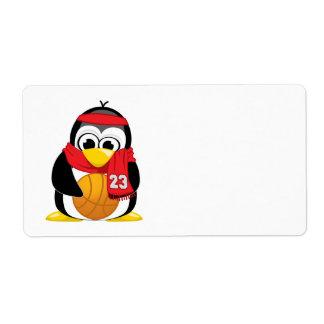 Bufanda del pingüino del baloncesto etiqueta de envío
