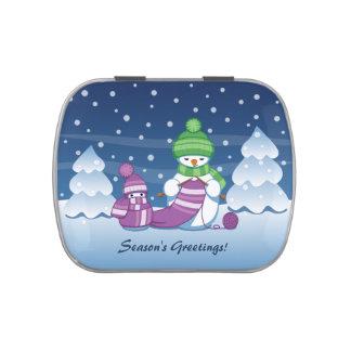 Bufanda que hace punto del muñeco de nieve astuto jarrones de dulces