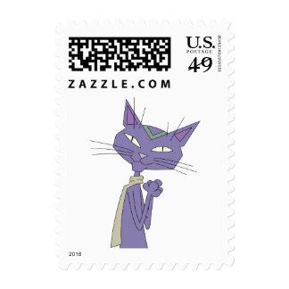 Bufanda que lleva sonriente del gato púrpura del envio