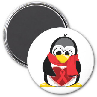 Bufanda roja del pingüino de la cinta imán redondo 7 cm
