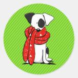 Bufanda roja moderna de Jack Russell Terrier Pegatinas Redondas