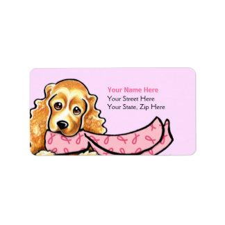 Bufanda rosada BCA de la cinta de cocker spaniel Etiquetas De Dirección
