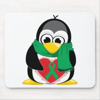 Bufanda verde del pingüino de la cinta alfombrilla de raton