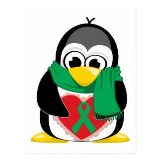 Bufanda verde del pingüino de la cinta tarjetas postales
