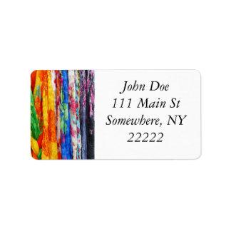 Bufandas coloridas etiquetas de dirección