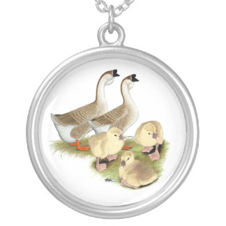 Buff African Goose Family Silver Plated Necklace