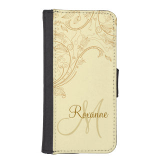 Buff Beige Gold Floral Fantasy Abstract Phone Case Phone Wallet Case