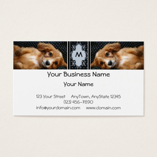 Buff Colored Cocker Spaniel Puppy on Polka Dots Business Card