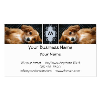 Buff Colored Cocker Spaniel Puppy on Polka Dots Business Cards