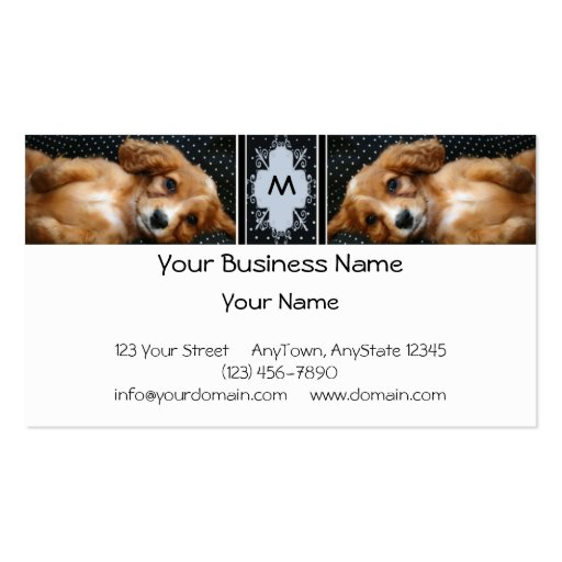 Buff Colored Cocker Spaniel Puppy on Polka Dots Double-Sided Standard Business Cards (Pack Of 100)