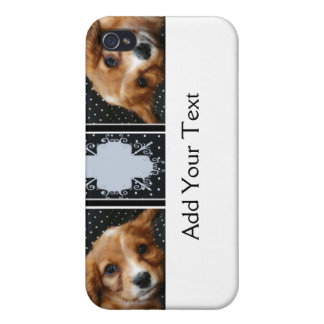 Buff Colored Cocker Spaniel Puppy on Polka Dots iPhone 4 Cover