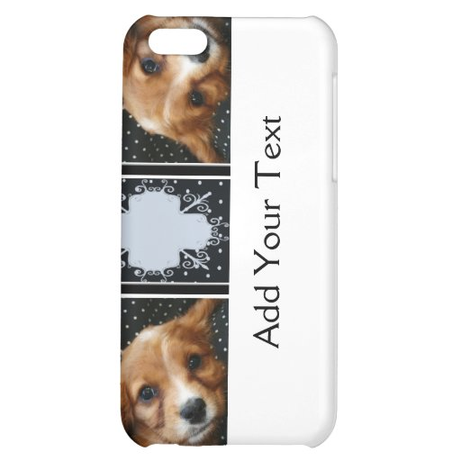 Buff Colored Cocker Spaniel Puppy on Polka Dots iPhone 5C Case