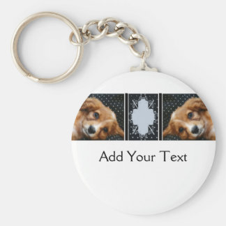 Buff Colored Cocker Spaniel Puppy on Polka Dots Basic Round Button Keychain