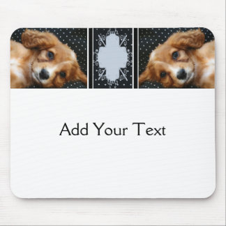 Buff Colored Cocker Spaniel Puppy on Polka Dots Mouse Pad