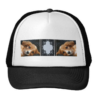 Buff Colored Cocker Spaniel Puppy on Polka Dots Trucker Hat