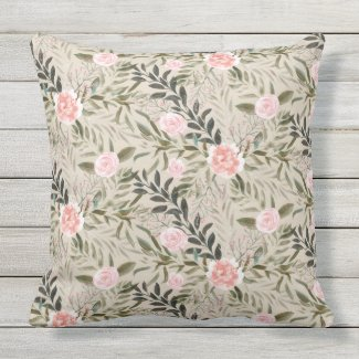 Buff Floral and Green Leafy Beige Pillow 20x20