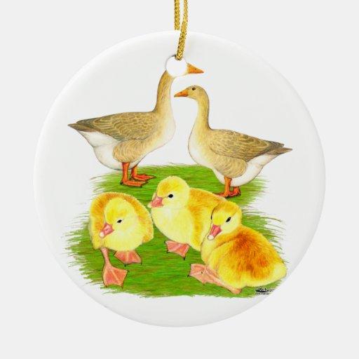 Buff Goose Family Ceramic Ornament