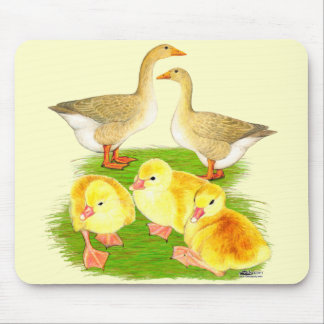Buff Goose Family Mouse Pad