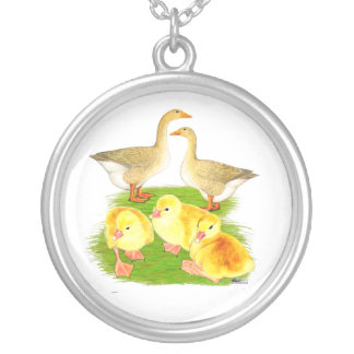 Buff Goose Family Silver Plated Necklace