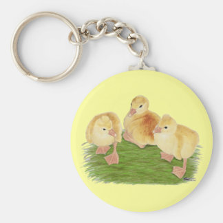 Buff Goslings Tufted Basic Round Button Keychain