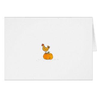 Buff Hen With Pumpkin Card