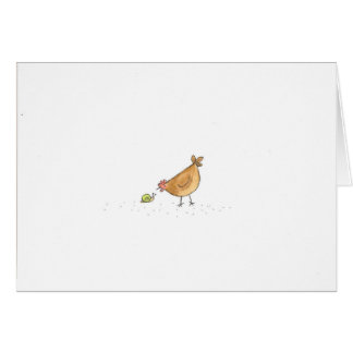Buff Hen With Snail Card