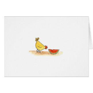Buff Hen With Watermelon Card