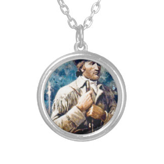 buff mountain man silver plated necklace