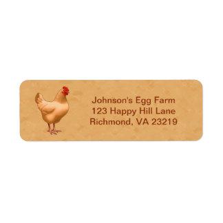 Buff Orpington Chicken Hen Label