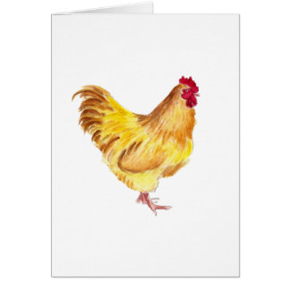 buff orpington rooster painting greeting card