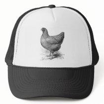 buff plymouth rock hen trucker hat