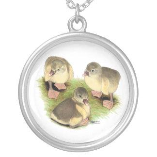 Buff Pomeranian Goslings Silver Plated Necklace