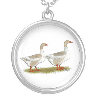 Buff Pomeranian Saddleback Geese Silver Plated Necklace