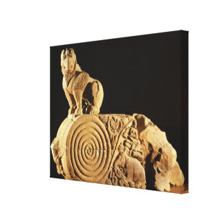 Buff sandstone architrave with griffin, Sanchi, MP Canvas Print