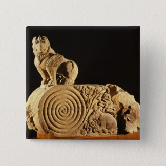 Buff sandstone architrave with griffin, Sanchi, MP Pinback Button