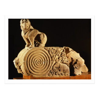 Buff sandstone architrave with griffin, Sanchi, MP Postcard