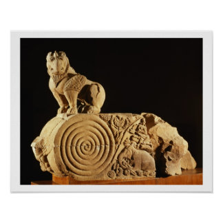 Buff sandstone architrave with griffin, Sanchi, MP Poster