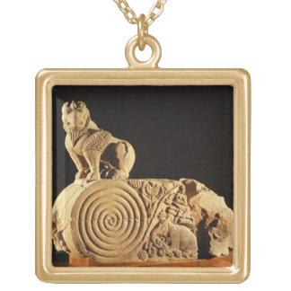 Buff sandstone architrave with griffin, Sanchi, MP Square Pendant Necklace