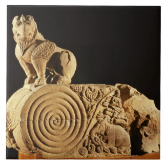 Buff sandstone architrave with griffin, Sanchi, MP Tile