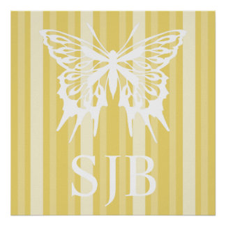 Buff Victorian Lady Stripe with Butterfly Posters
