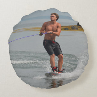 Buff Wakeboarder Round Pillow