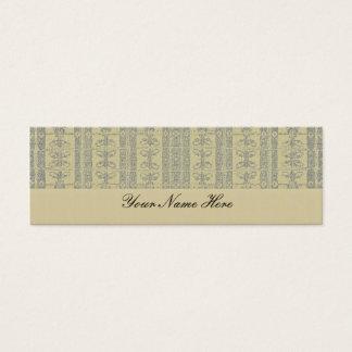 Buff Yellow Elegant Pattern Mini Business Card