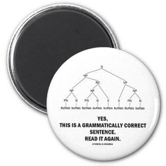 Buffalo (8 Times) Grammatically Correct Sentence 2 Inch Round Magnet