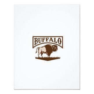 Buffalo American Bison Side Woodcut Card