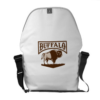 Buffalo American Bison Side Woodcut Courier Bag