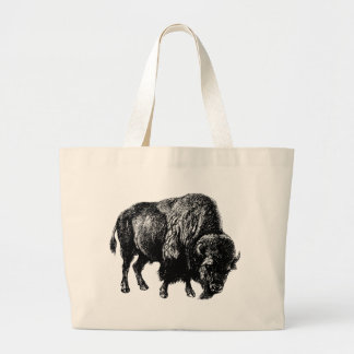 Buffalo American Bison Vintage Wood Engraving Jumbo Tote Bag