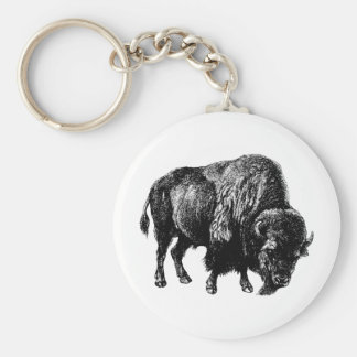 Buffalo American Bison Vintage Wood Engraving Basic Round Button Keychain