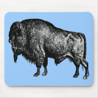 Buffalo American Bison Vintage Wood Engraving Mouse Pad