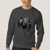 Buffalo American Bison Vintage Wood Engraving Sweatshirt